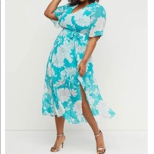 Turquoise and white floral chiffon maxi dress